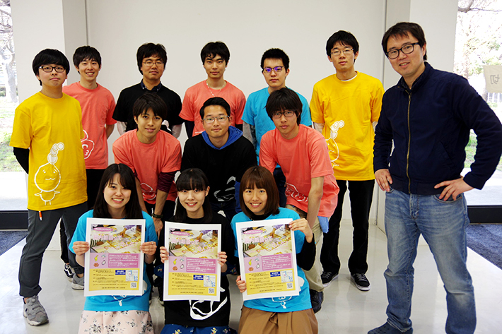 Yamada (far right) with student organizers