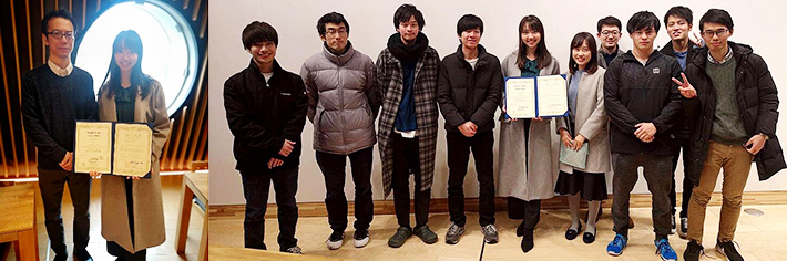 Left: People's Choice Award winner Tan (right) and Tokyo Tech Associate Professor Hirotaka Aoki Right: Tan with members of Aoki Lab