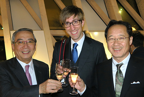 From left: Mishima, Asst. Prof. Alexander May, Director-General Masu of IIR