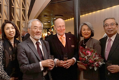 From right: Mishima, Nobel Attaché Kaj Reinius and his wife, Ohsumi with Ms. Yoko Hara, his secretary