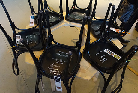 Chairs signed by Nobel Laureates