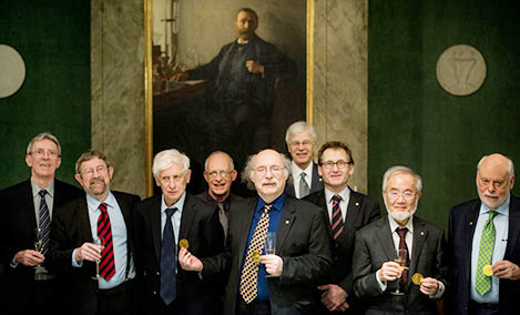 Nobel laureates 2016 at the Nobel Foundation From left: Jean-Pierre Sauvage, J. Michael Kosterlitz, David J. Thouless, Oliver Hart, F. Duncan M. Haldane, Bengt Holmström, Bernard L. Feringa, Yoshinori Ohsumi,and Sir J. Fraser Stoddart © Nobel Media AB 2016. Photo: Pi Alexander Mahmoud