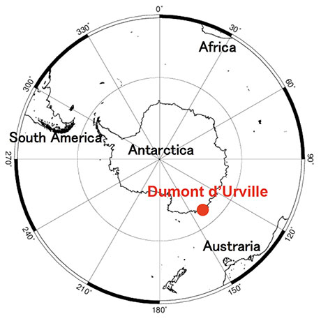 Location of Dumont d'Urville Station in Antarctica