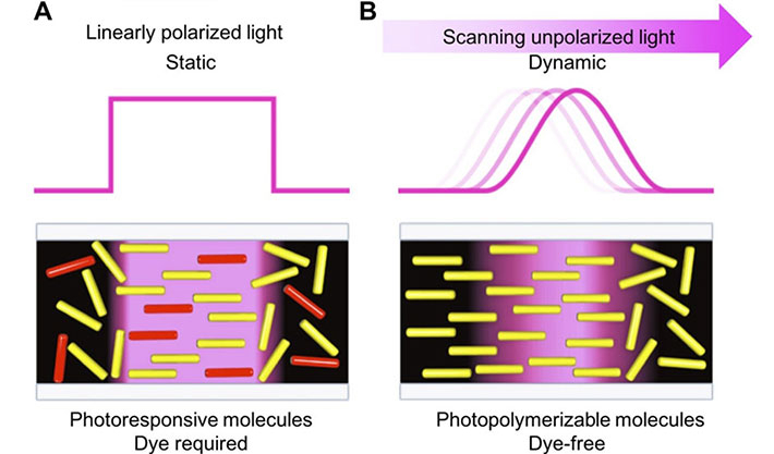 Schematic representations of photoirradiation for controlling molecular alignment.