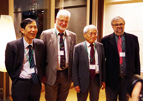 Those who established the foundation of this agreement: (From left) Tokyo Tech Professor Takehiko Mori, Deputy Director Keller, Tokyo Tech Professor Emeritus Toshiaki Enoki, and Professor Emeritus Cailleau