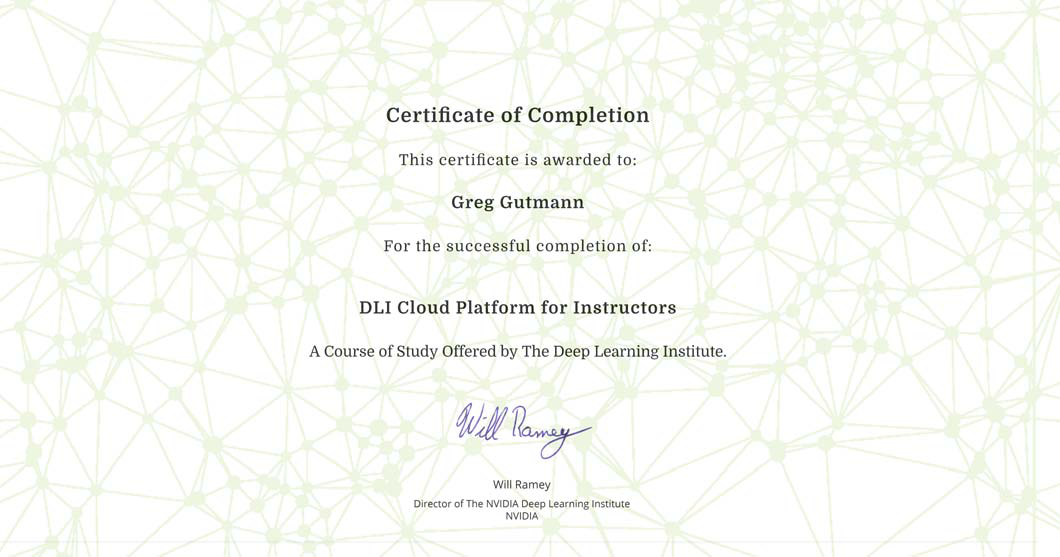 Greg Gutmann助教がNVIDIA Deep Learning Institute Cloud Platform for Instructorsの資格を取得