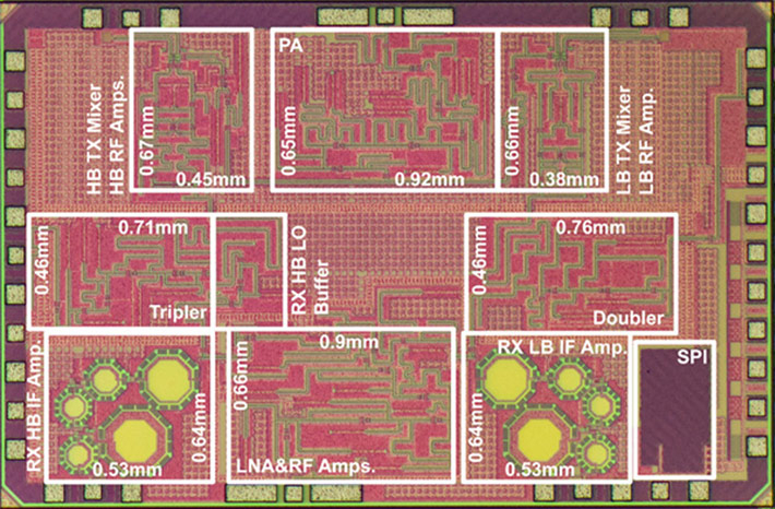 CMOS wireless transceiver chip that achieved wireless communication at 120 Gbps