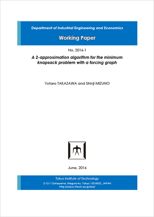 Department of Industrial Engineering and Economics Working Paper