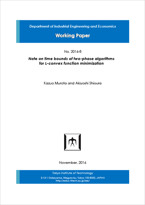 Department of Industrial Engineering and Economics Working Paper 2016-8