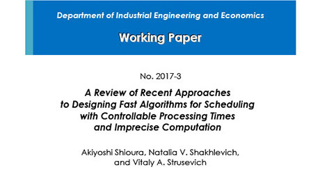 """Department of Industrial Engineering and Economics Working Paper 2017-3"" is now available"