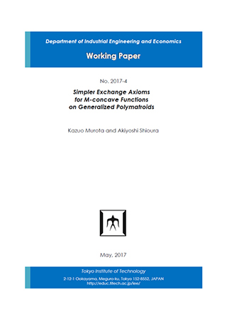 Department of Industrial Engineering and Economics Working Paper 2017-4