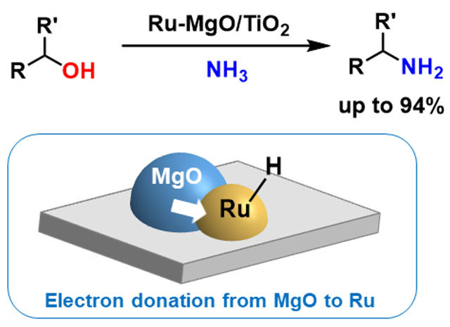 Figure 1. Direct amination of alcohols over Ru-MgO/TiO2 activated by electron donation from MgO