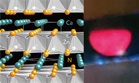 Computational materials screening and high-pressure synthesis reveal a promising nitride semiconductor for optoelectronics