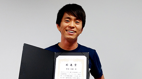 Naoki Kuwamura, Master's second grade in Inoue Sakaguchi Lab., received Best Presentation Award at The Japanese Society for Non-Destructive Inspection The 24th Symposium on Ultrasonic Testing.